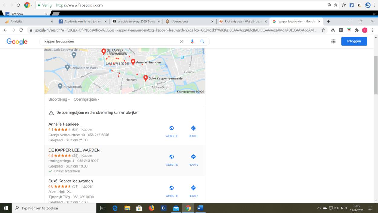 lokaal zoekresultaat in google